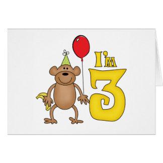 Funny Monkey 3rd Birthday Note Card