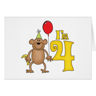 Funny Monkey 4th Birthday Note Card