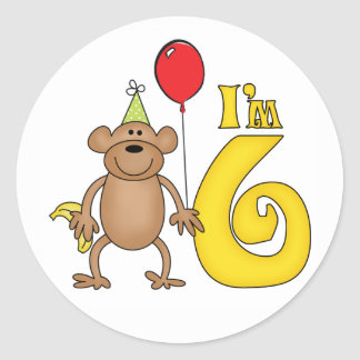 Funny Monkey 6th Birthday Classic Round Sticker
