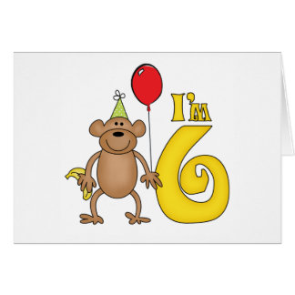 Funny Monkey 6th Birthday Note Card