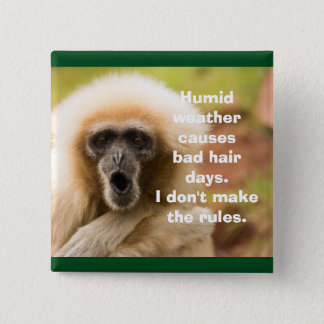 Funny Monkey Bad Hair Day 15 Cm Square Badge