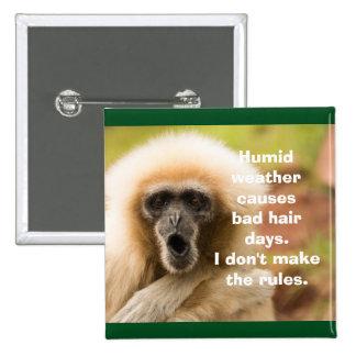 Funny Monkey Bad Hair Day 15 Cm Square Badge
