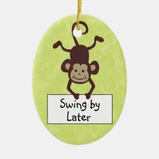 Funny Monkey Door Hanger Ceramic Oval Decoration