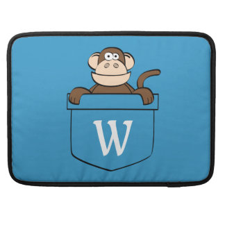 Funny Monkey in a Pocket Monogrammed Sleeve For MacBook Pro