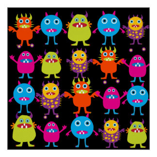 Funny Monster Bash Cute Creatures Party Poster