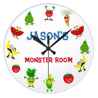 Funny Monster fruit friends children room Large Clock
