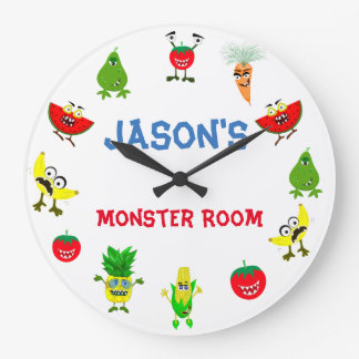 Funny Monster fruit friends children room Wall Clocks