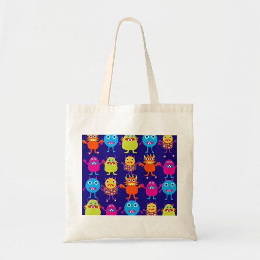 Funny Monster Party Cute Creatures on Blue Tote Bags
