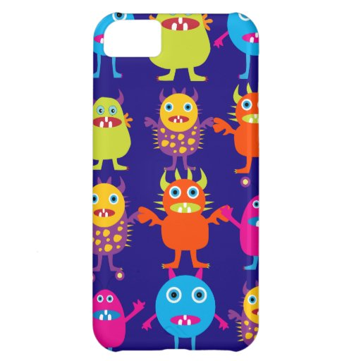 Funny Monster Party Cute Creatures on Blue iPhone 5C Cover