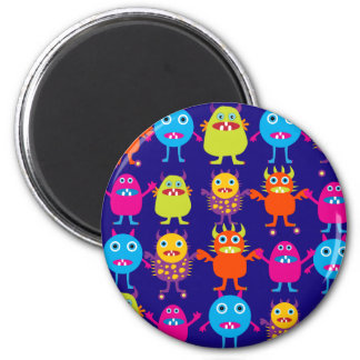 Funny Monster Party Cute Creatures on Blue Magnet