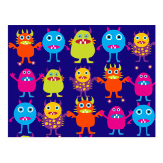Funny Monster Party Cute Creatures on Blue Postcard