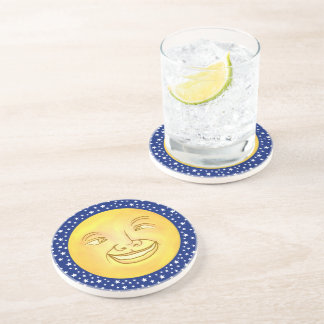 Funny Moon Man Outer Space Vintage Beverage Coasters