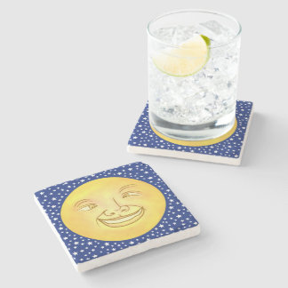 Funny Moon Man Outer Space Vintage Stone Coaster