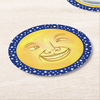 Funny Moon Man Outer Space Vintage Round Paper Coaster