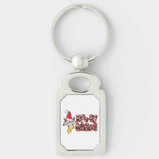 Funny Moory Christmas Cow Moo-ry Watches Stickers Silver-Colored Rectangle Key Ring