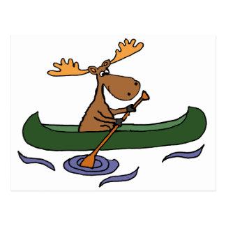 Funny Moose Canoeing Cartoon Postcard
