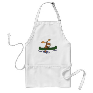 Funny Moose Canoeing Cartoon Standard Apron