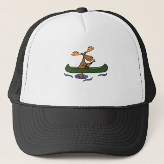 Funny Moose Canoeing Cartoon Trucker Hat
