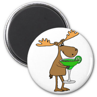 Funny Moose Drinking Margarita Artwork 6 Cm Round Magnet