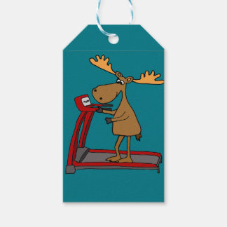 Funny Moose Exercising on Treadmill Cartoon Gift Tags