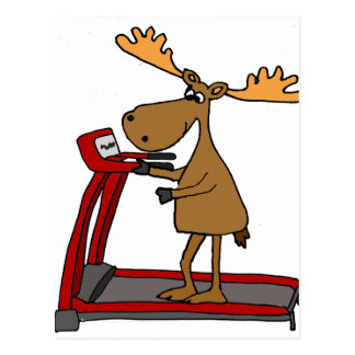 Funny Moose Exercising on Treadmill Cartoon Postcard