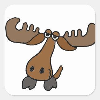 Funny Moose Head Cartoon Square Sticker