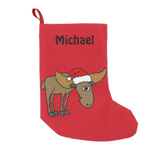 Funny Moose in Santa Hat Christmas Stocking