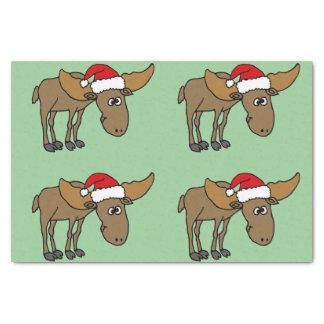 Funny Moose in Santa Hat Christmas Tissue Paper