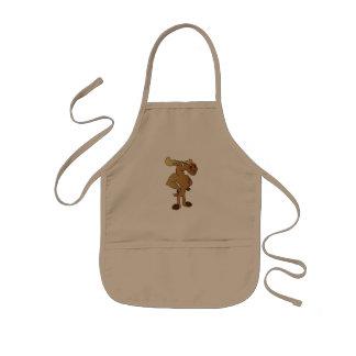 Funny moose kids apron