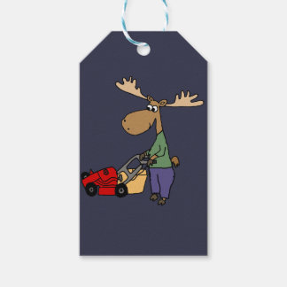 Funny Moose Mowing Lawn Cartoon Gift Tags