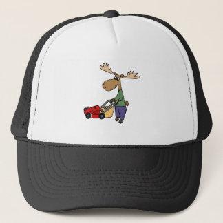 Funny Moose Mowing Lawn Cartoon Trucker Hat