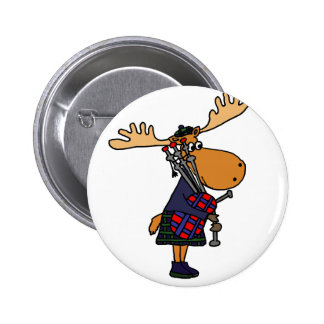 Funny Moose Playing Bagpipes Art 6 Cm Round Badge