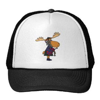 Funny Moose Playing Bagpipes Art Cap