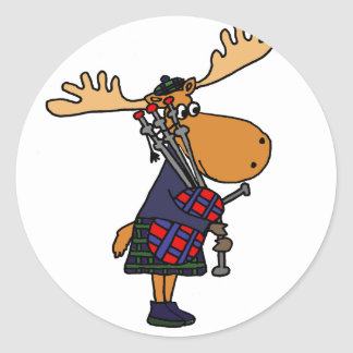 Funny Moose Playing Bagpipes Art Round Sticker