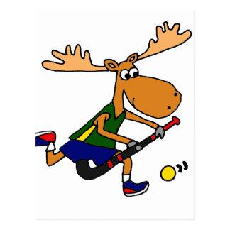 Funny Moose Playing Field Hockey Postcard