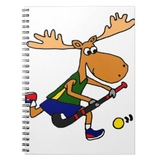Funny Moose Playing Field Hockey Spiral Notebook