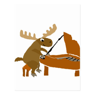 Funny Moose Playing Piano Original Art Postcard
