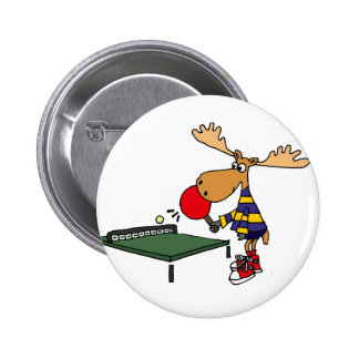 Funny Moose Playing Table Tennis Cartoon 6 Cm Round Badge