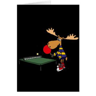Funny Moose Playing Table Tennis Cartoon Card