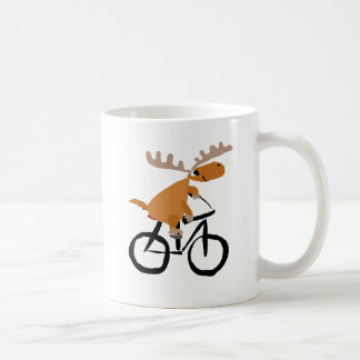 Funny Moose Riding Bicycle original art Coffee Mug