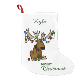 Funny Moose Small Christmas Stocking