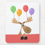 Funny moose with colourful balloons vertical mousemats