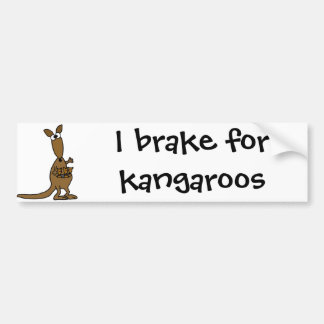 Funny Mother Kangaroo and Three Babies Bumper Sticker