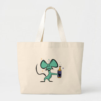 funny mouse drunk on tequila large tote bag