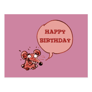 funny mouse say happy birthday postcard