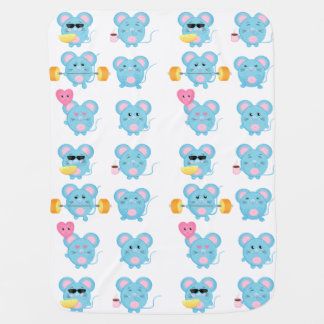 Funny Mouses in action for Baby Baby Blanket