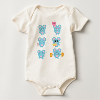 Funny Mouses in action for Baby Baby Bodysuit