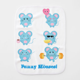 Funny Mouses in action for Baby Burp Cloth