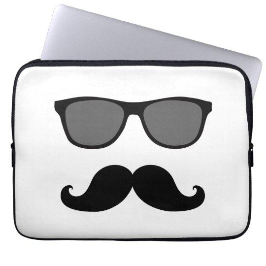 Funny Moustache, Black Sunglasses Laptop Sleeve