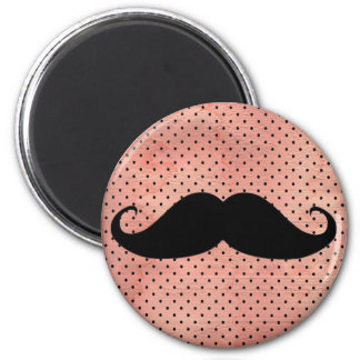 Funny Moustache On Cute Pink Polka Dot Background Refrigerator Magnet